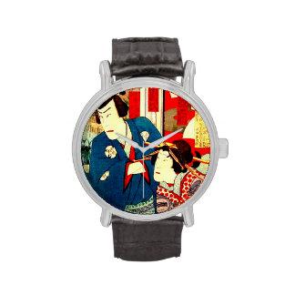 Vintage Geisha Kabuki Japanese Woodblock Art Wristwatches
