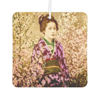 Vintage Geisha Posing in Cherry Blossoms Car Air Freshener