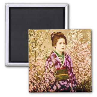 Vintage Geisha Posing in Cherry Blossoms Magnet