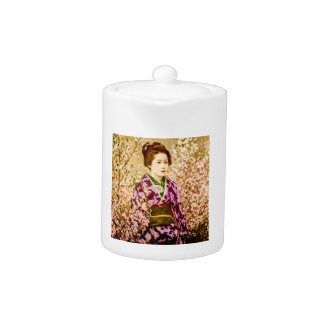 Vintage Geisha Posing in Cherry Blossoms Teapot