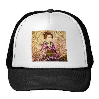 Vintage Geisha Posing in Cherry Blossoms Trucker Hat
