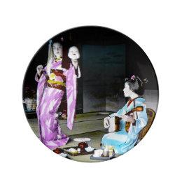 Vintage Geisha Practicing Classic Noh Dancing Dinner Plate