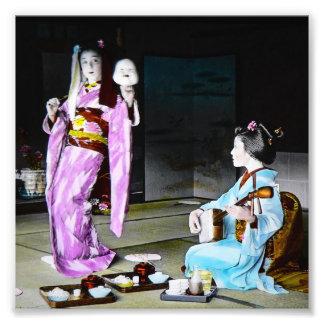 Vintage Geisha Practicing Classic Noh Dancing Photo Print