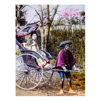 Vintage Geisha Traveling in Rickshaw Old Japan Postcard