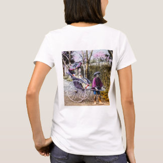 Vintage Geisha Traveling in Rickshaw Old Japan T-Shirt