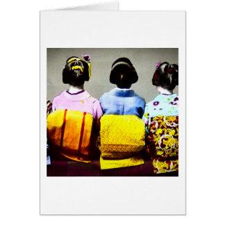 Vintage Geishas in Colorful Kimonos and Obis 2 Card