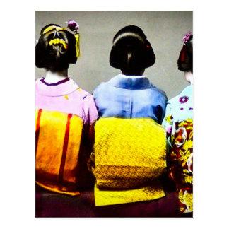Vintage Geishas in Colorful Kimonos and Obis 2 Postcard