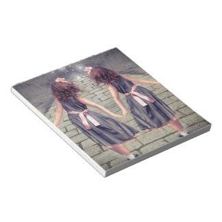 vintage gemini best friends forever Twin girls Notepad