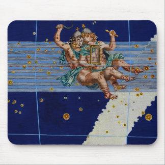 Vintage Gemini Star Chart Mouse Pad