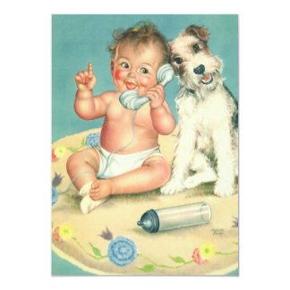 Vintage Gender Reveal Baby Shower Party Puppy 5x7 Paper Invitation Card