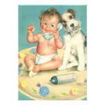 Vintage Gender Reveal Baby Shower Party Puppy Cards