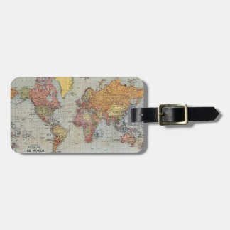 Vintage General Map of the World Bag Tag