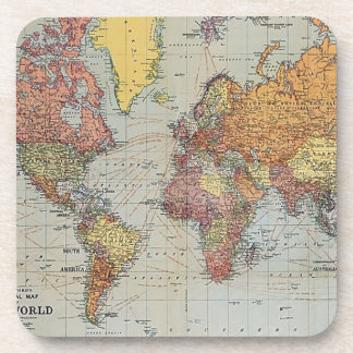 Vintage General Map of the World Beverage Coaster