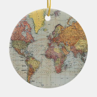 Vintage General Map of the World Ceramic Ornament