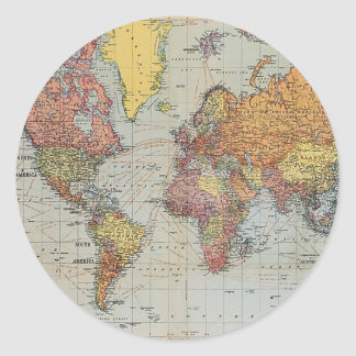 Vintage General Map of the World Classic Round Sticker