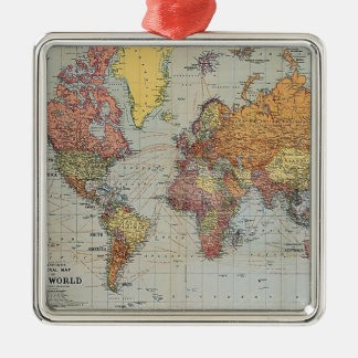 Vintage General Map of the World Metal Ornament