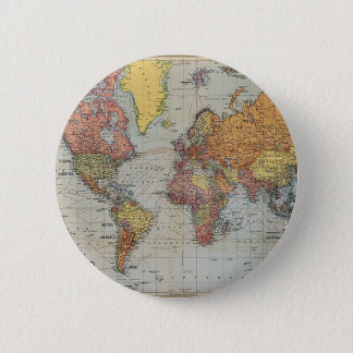 Vintage General Map of the World Pinback Button