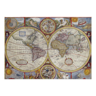 Vintage General Map of the World Poster