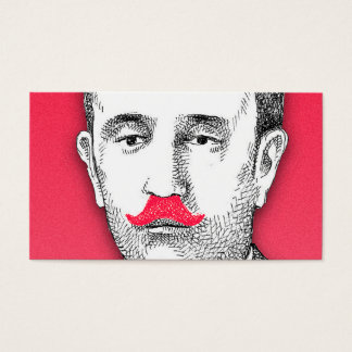 Vintage  Gentleman With Funny Pink Mustache Business Card