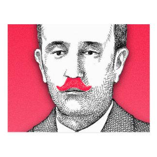 Vintage  Gentleman With Funny Pink Mustache Postcard