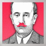 Vintage  Gentleman With Funny Pink Mustache Print