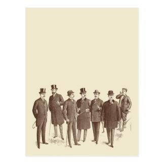 Vintage Gentlemen 1800s Men s Fashion Brown Beige Postcard