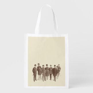 Vintage Gentlemen 1800s Men s Fashion Brown Beige Reusable Grocery Bag
