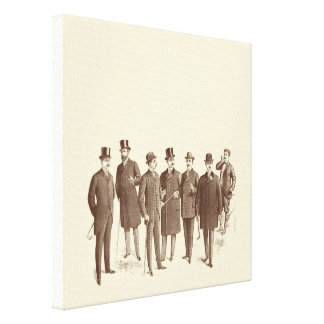 Vintage Gentlemen 1800s Men's Fashion Brown Beige Canvas Prints