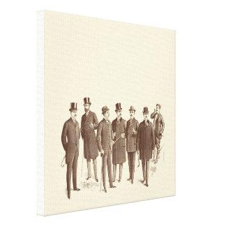 Vintage Gentlemen 1800s Men's Fashion Brown Beige Canvas Print