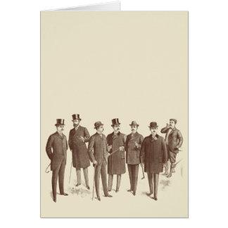Vintage Gentlemen 1800s Men's Fashion Brown Beige Stationery Note Card