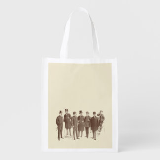 Vintage Gentlemen 1800s Men's Fashion Brown Beige Grocery Bags