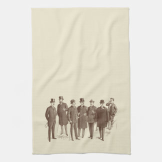 Vintage Gentlemen 1800s Men's Fashion Brown Beige Hand Towel