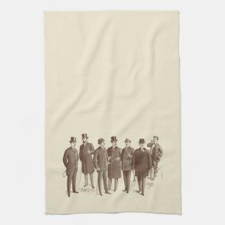 Vintage Gentlemen 1800s Men's Fashion Brown Beige Towels