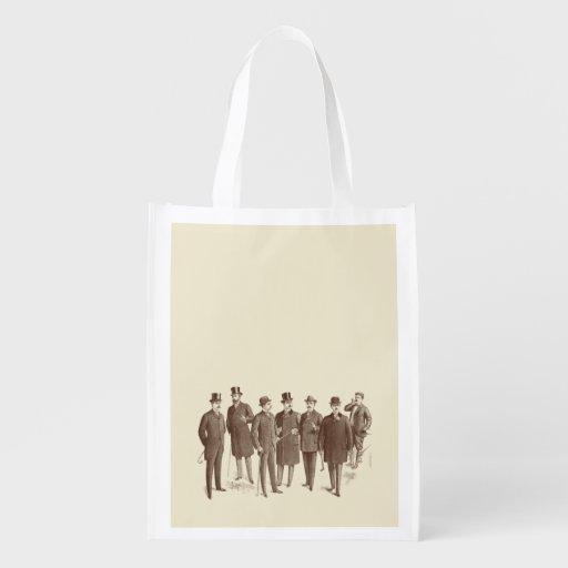 Vintage Gentlemen 1800s Men's Fashion Brown Beige Reusable Grocery Bag
