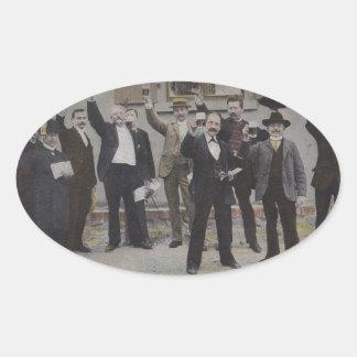Vintage Gentlemen Toast Toasting Men Stickers Oval