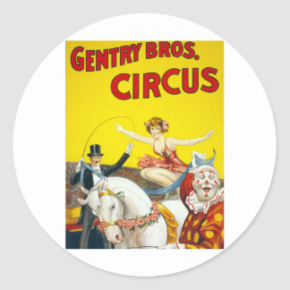 Vintage Gentry Brothers Circus Poster Classic Round Sticker