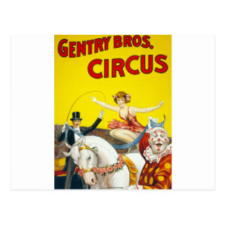 Vintage Gentry Brothers Circus Poster Postcard