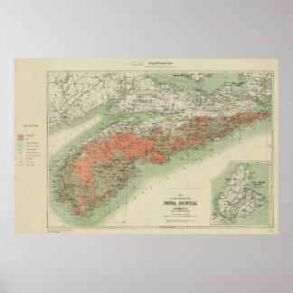 Vintage Geological Map of Nova Scotia (1906) Poster