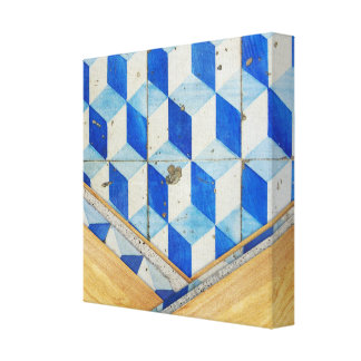 Vintage geometric 3d pattern with wood canvas print