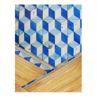 Vintage geometric 3d pattern with wood postcards