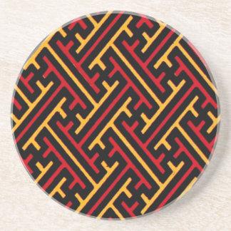 Vintage Geometric African Tribal Graphic Design Sandstone Coaster