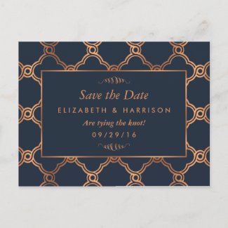 Vintage Geometric Art Deco Gatsby Save The Date Announcement Postcard