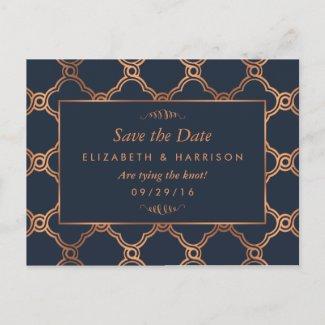 Vintage Geometric Art Deco Gatsby Save The Date Announcement Postcard