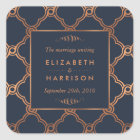 Vintage Geometric Art Deco Gatsby Wedding Favor Square Sticker