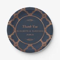 Vintage Geometric Art Deco Gatsby Wedding Paper Plate