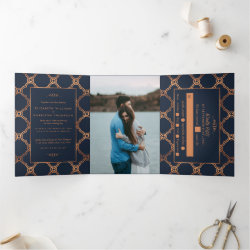 Vintage Geometric Art Deco Gatsby Wedding Suite Tri-Fold Invitation