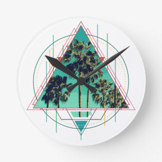 Vintage geometric calif summer palm beach round clock