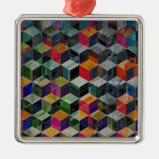 Vintage Geometric Cubes Metal Ornament