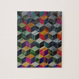 Vintage Geometric Cubes Jigsaw Puzzle
