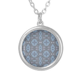 Vintage Geometric Floral in Gray and Light Blue Silver Plated Necklace